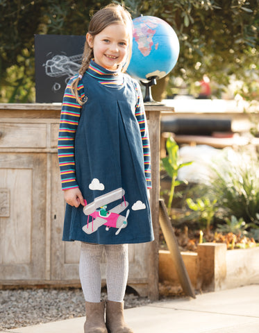 Image of Frugi Amber Applique Dress - Space Blue/Pilot - Tilly & Jasper