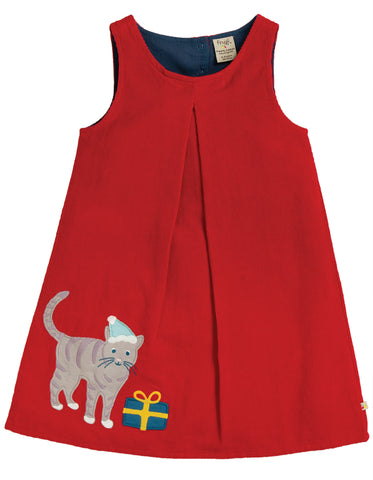 Image of Frugi Amber Applique Dress - Tango Red/Cat - Tilly & Jasper