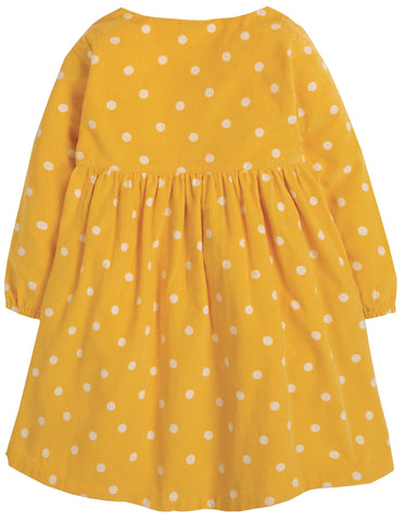 Frugi Bonnie Button Dress - Bumble Bee Spot/Rainbow - Tilly & Jasper
