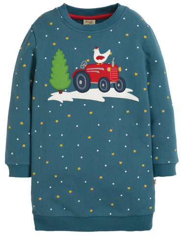 Frugi Eloise Jumper Dress - Nightsky/Tractor - Tilly & Jasper