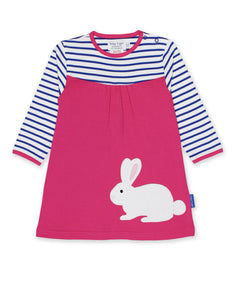 Toby Tiger Breton Rabbit Applique Dress