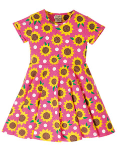 Frugi Spring Skater Dress - Flamingo Sunflowers
