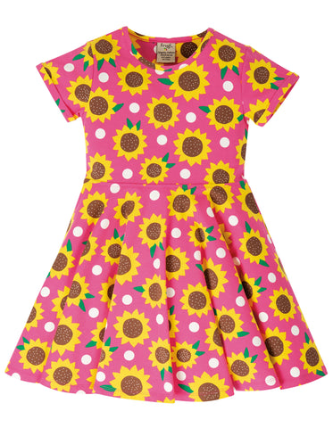 Image of Frugi Spring Skater Dress - Flamingo Sunflowers