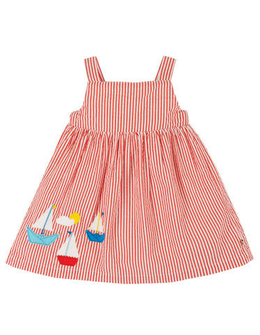 Image of Frugi Alma Summer Dress - Koi Red Seersucker/Boat