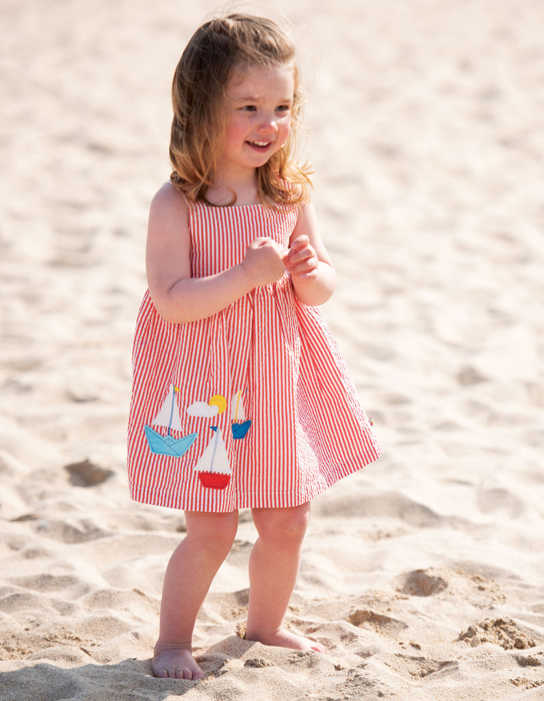 Frugi Alma Summer Dress - Koi Red Seersucker/Boat