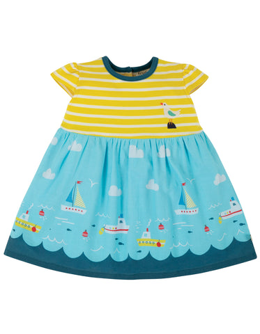 Frugi Demelza Dress - Fresh Yellow Stripe/Bird
