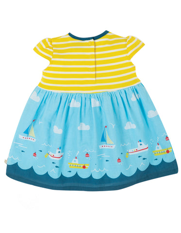 Image of Frugi Demelza Dress - Fresh Yellow Stripe/Bird