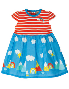 Frugi Demelza Dress - Koi Red Stripe/Rainbow