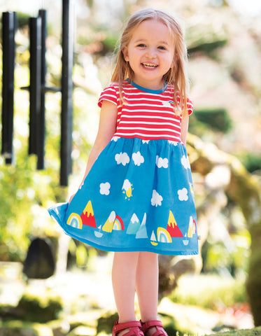 Image of Frugi Demelza Dress - Koi Red Stripe/Rainbow