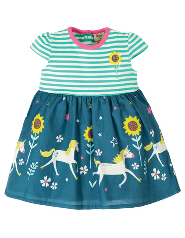 Image of Frugi Demelza Dress - Pacific Aqua Stripe/Star