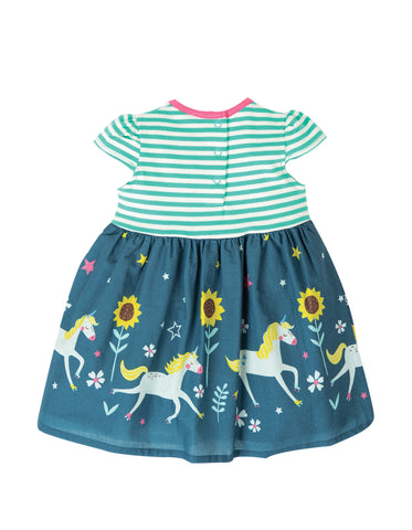 Frugi Demelza Dress - Pacific Aqua Stripe/Star