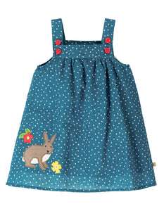 Frugi Hallie Linen Dress - Steely Blue Scatter Spot/Bunny