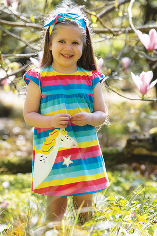 Frugi Little Lola Dress - Flamingo Multi Stripe/Unicorn