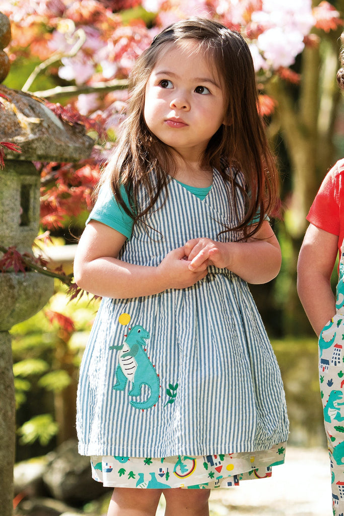 Frugi Nora Reversible Dress - Seersucker Stripe/Dino