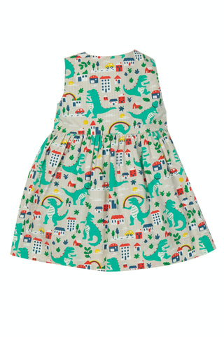 Image of Frugi Nora Reversible Dress - Seersucker Stripe/Dino