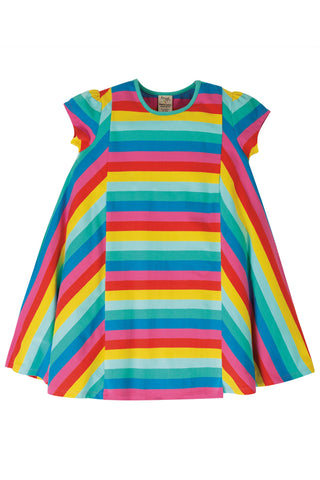 Frugi Elodie Twirly Dress -  Flamingo Multi Stripe
