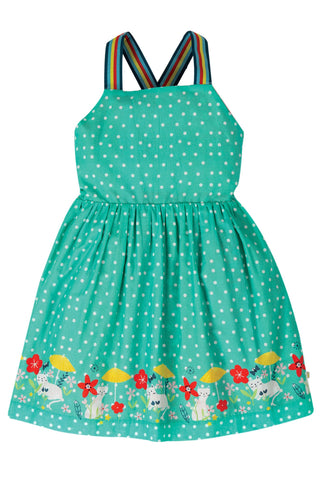 Frugi Essie Reversible Dress - Pacific Aqua Spot/Cat
