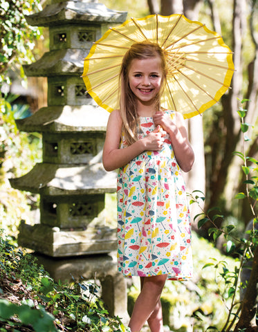Image of Frugi Porthcurno Party Dress - Soft White Parasols