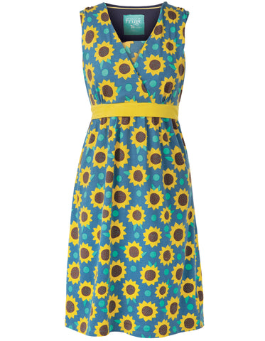 Image of Frugi Summer Tie Dress - Steely Blue Sunflowers