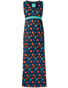 Frugi Summer Maxi Dress - Indigo Floral (maternity wear)