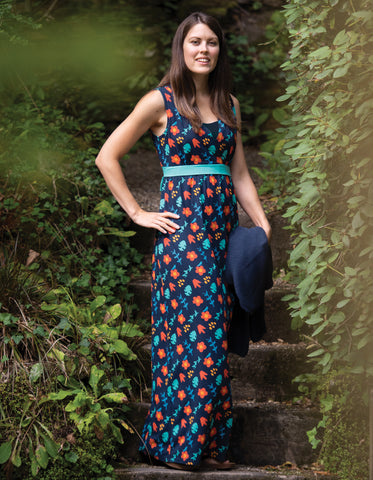 Image of Frugi Summer Maxi Dress - Indigo Floral (maternity wear)