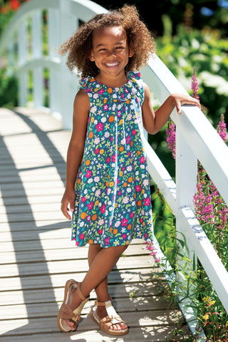 Frugi Dina Slub Dress - Flower Valley