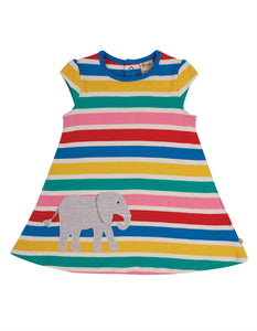 Frugi Gianna Dress - Rainbow Multistripe/Elephant