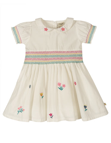 Frugi Posy Embroidered Dress -  Soft White/Flowers