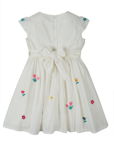 Frugi Rosy Embroidered Dress - Soft White/Flowers