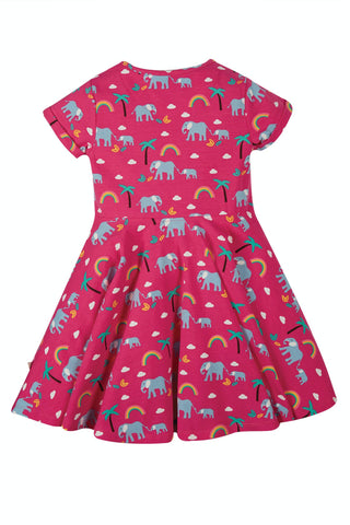 Frugi Spring Skater Dress - Deep Pink Rainbow Walks