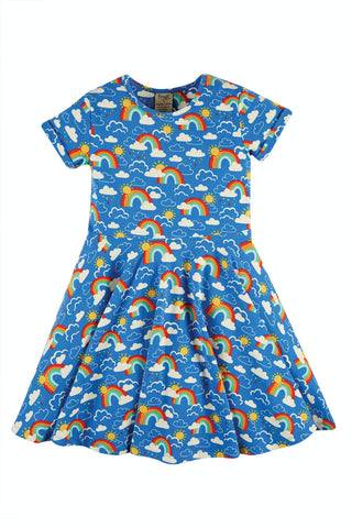 Frugi Spring Skater Dress - Rainbow Skies