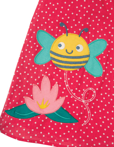 Image of Frugi Amy Applique Dress - Geranium Scatter Spot/Bee - Tilly & Jasper