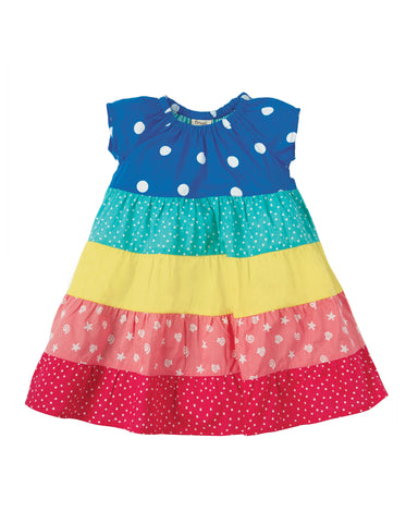 Image of Frugi Dorothy Twirly Dress - Rainbow Hotchpotch - Tilly & Jasper