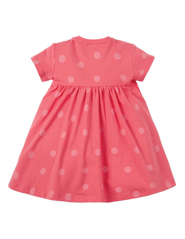 Image of Frugi Jade Jersey Dress - Coral Polka Dot/Tractor - Tilly & Jasper