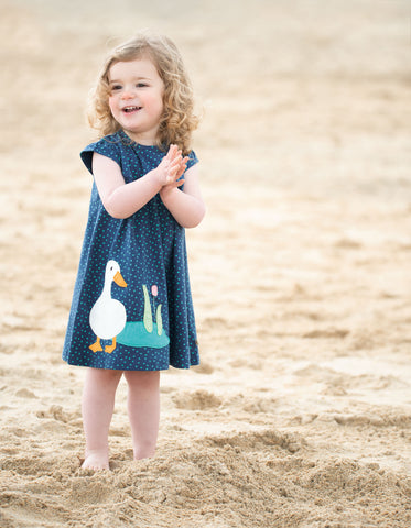Image of Frugi Little Lola Dress - Marine Blue Scatter Spot/Duck - Tilly & Jasper