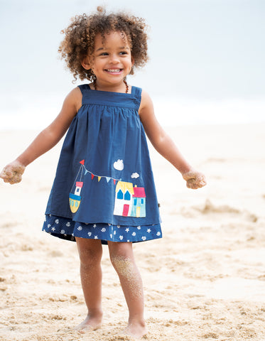 Frugi Rosemary Reversible Dress - Marine / Harbour - Tilly & Jasper