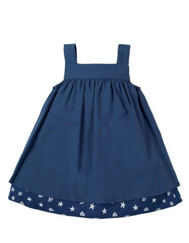 Image of Frugi Rosemary Reversible Dress - Marine / Harbour - Tilly & Jasper