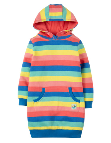 Image of Frugi Harriet Hoody Dress - Bright Rainbow Stripe - Tilly & Jasper