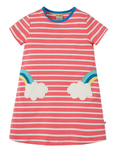 Frugi Paige Pocket Dress - Coral Chunky Breton/Clouds - Tilly & Jasper