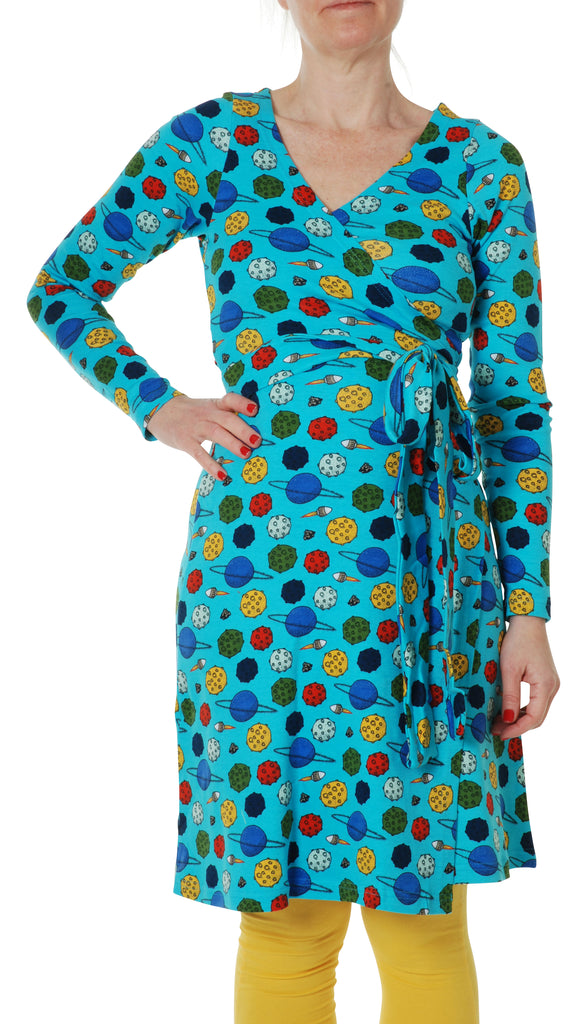 DUNS Adult LS Wrap Dress - Blue Atoll