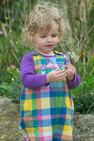 Image of Frugi Cleo Check Dungaree -  Bumble Bee Check