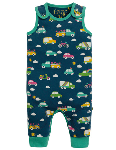 Frugi Kneepatch Dungaree - Space Blue Rainbow Roads - Tilly & Jasper