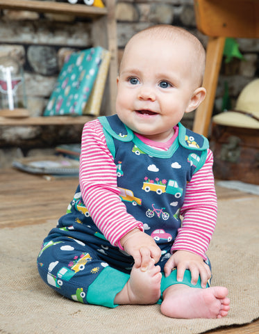 Frugi Kneepatch Dungaree - Space Blue Rainbow Roads