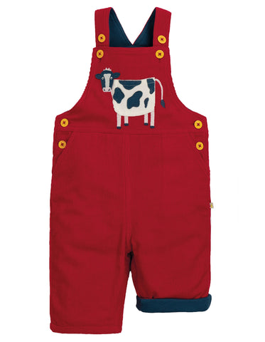 Frugi Play Days Dungaree - Tango Red/Cow