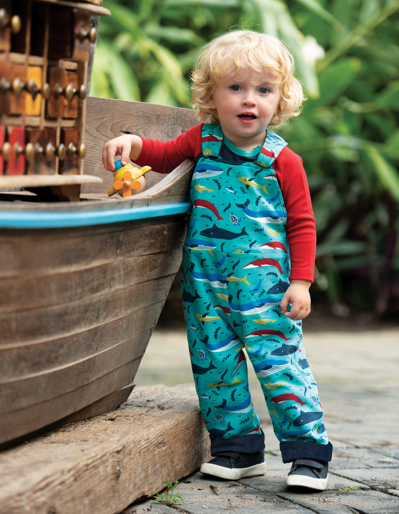 Frugi Reese Reversible Dungaree - Splash/Boat