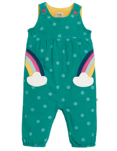 Frugi Willow Cord Dungaree - Topaz Blue Polka/Rainbow