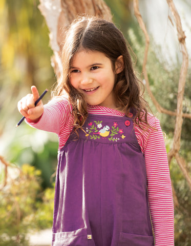 Image of Frugi Peggy Cord Playsuit - Amethyst/Finch Floral - Tilly & Jasper