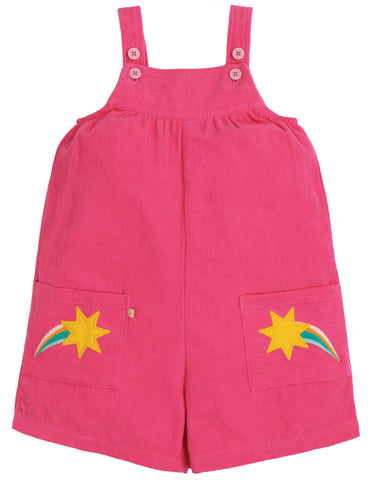 Image of Frugi Peggy Cord Playsuit - Flamingo/Shooting Stars