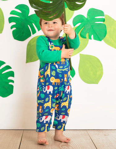 Image of Toby Tiger Organic Jungle Print Dungarees