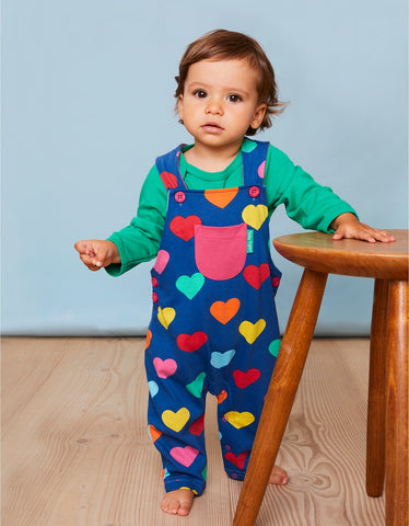 Image of Toby Tiger Multi Heart Print Dungarees
